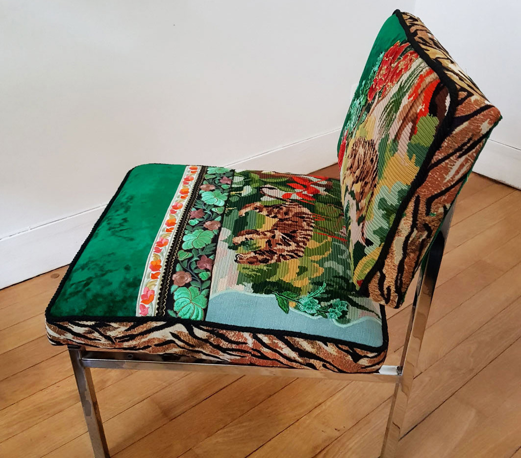 Upcycling chaise basse année 70 f