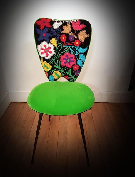 Upcycling de chaise  COEUR DE FLEURS