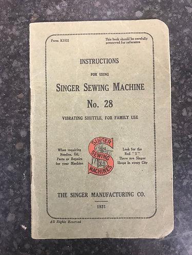 Singer 28k  Instruction Book  1931