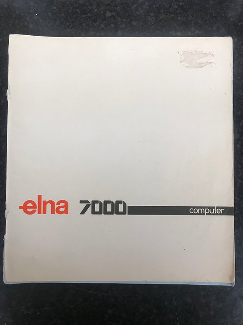 Elna 7000 Computer Instruction Book.