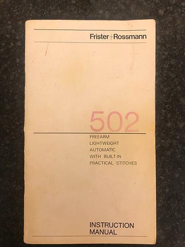 Frister and Rossmann model 502 Instruction Book.