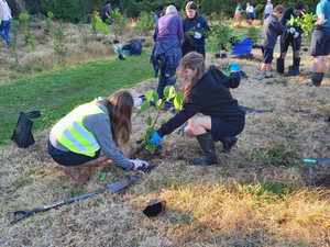 More planting along the Wairoa Stream by Kerikeri High School Students