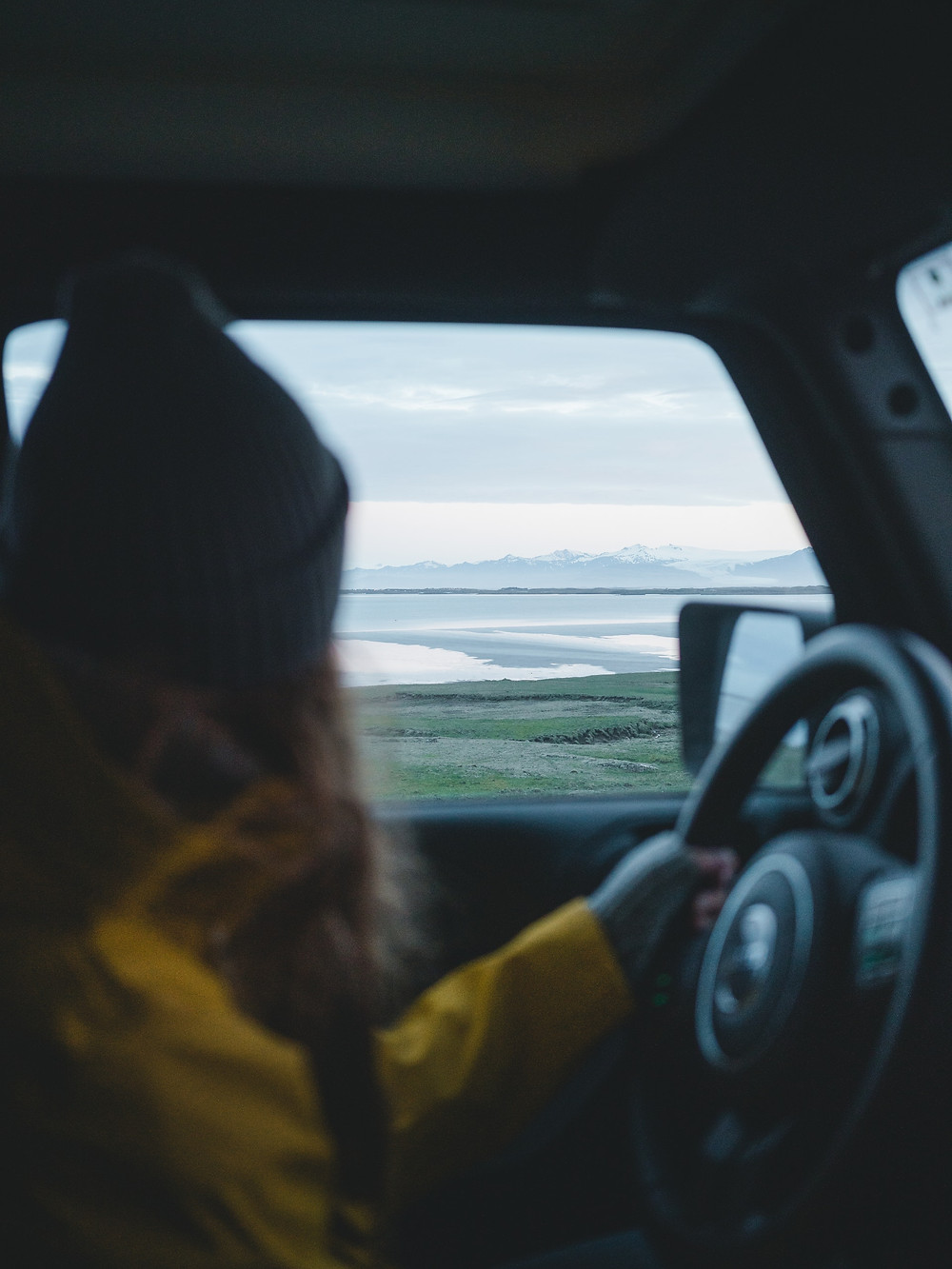 A woman viewing a beautiful green landscape while driving. Matt Hardy pexels image.
