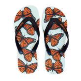 Monarch Butterflies Natural Rubber Flip Flops