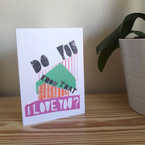 Pack of 5 'Do you know that I love you?' Cards
