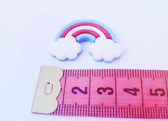 Aplique, botão de plástico Arco Íris- enfeite