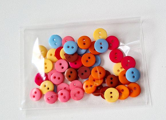 Botões pequenos de 2 furos- Cores- 50un