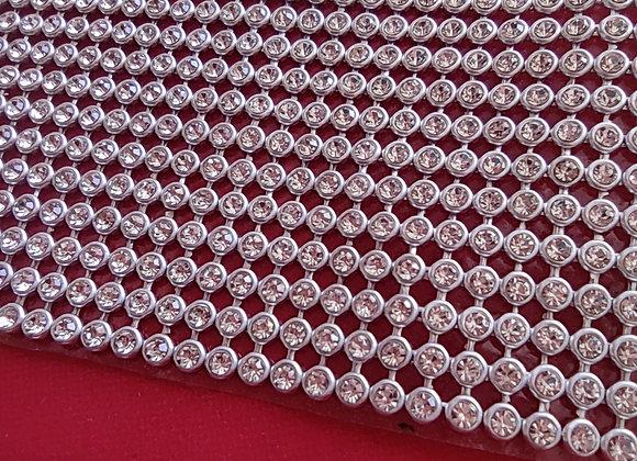 Fita de strass prata 15 x 6cm
