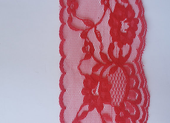 Renda sintética  011 vermelha  7 cm de largura 3 mt