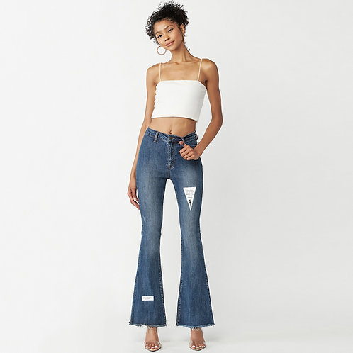 High Rise Frayed Flared Jeans