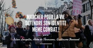 Soirée marcher pour la vie défendre son identité même combat avec Julien Langella, Guillaume Bernard et l'Abbé de Tanouarn
