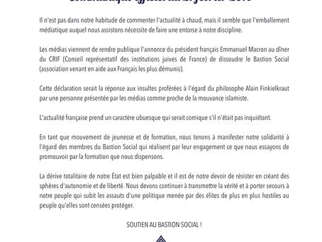 Communiqué de soutien au Bastion Social