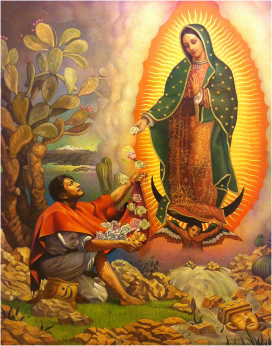 Apparition de Notre Dame à Juan Diego, en bas à droite : la tête d'une idole païenne.