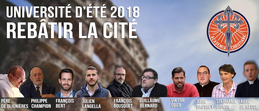 Université d'été 2018 - Rebâtir la cité - Intervenants d'Academia Christiana