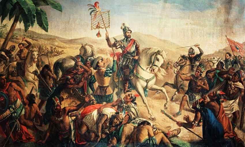 Cortés portant l'étendard aztèque à Otumba