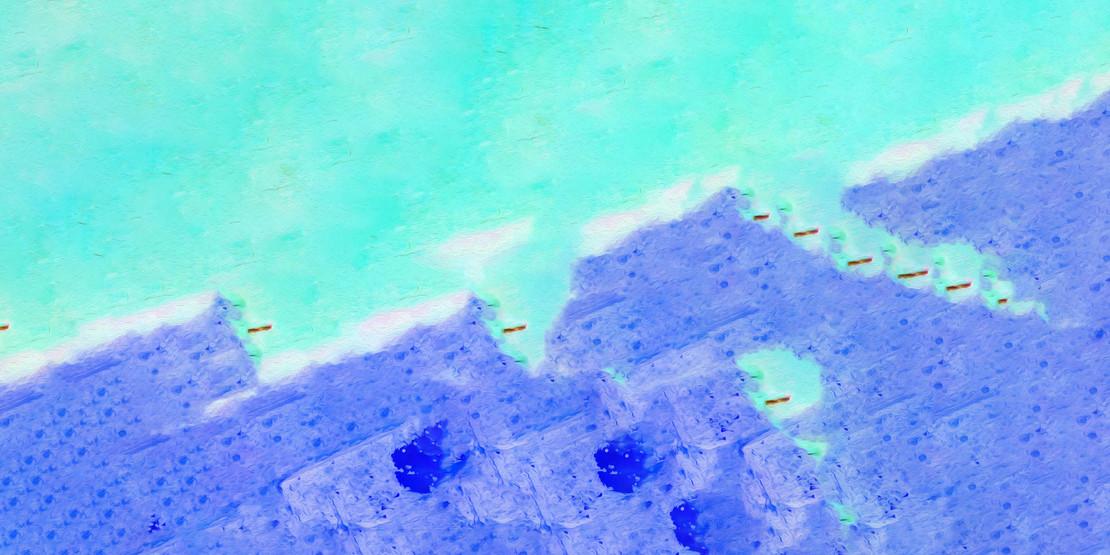 Blue Wall In An Acqua Alien Space