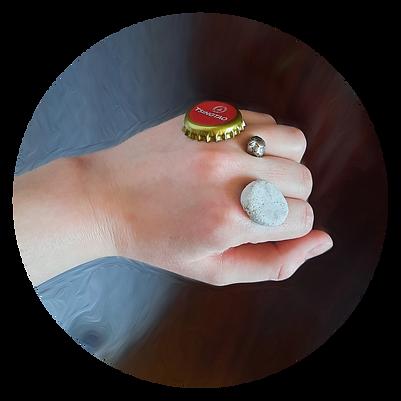 Nuckles and Rings - Bottle Cap, Bead, Salt Dough. Body Sculpture, 2021, Stella Olivier