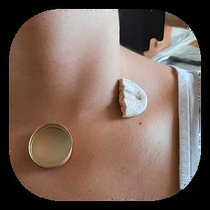 Collar Bone Piercing - Bottle Cap & Salt Dough. Body Sculpture, 2021, Stella Olivier