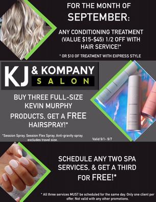 September Specials at KJ & Kompany!