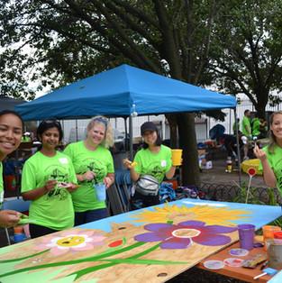 Volunteers Creating Seasonal Outdoor Art for Garden Events for Children