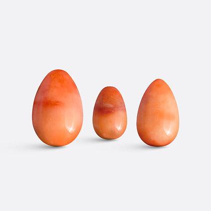 Yoni vajíčka - sada 3 ks / červený jadeit