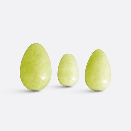 Kopie Yoni vajíčka - sada 3 ks / olivový jadeit