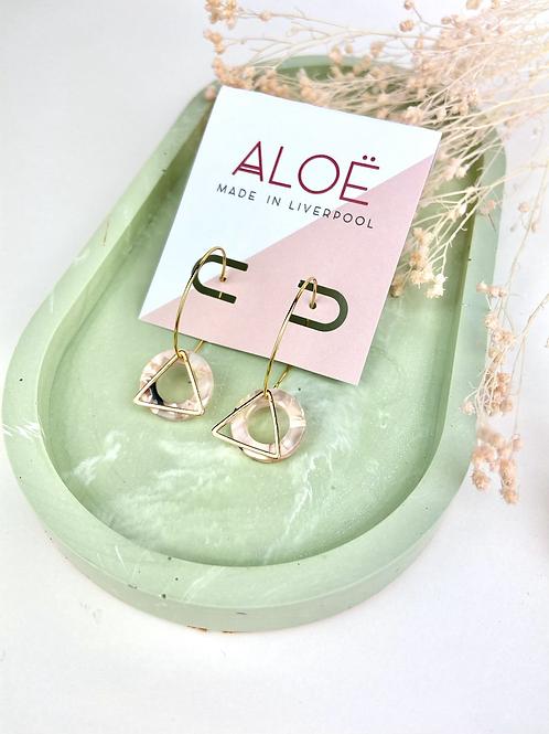 24k Gold Plated Marble Pink Hoop Hoops