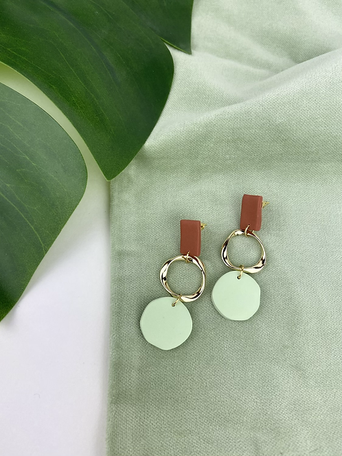 Pastel Mint & Gold Dangle Clay Studs
