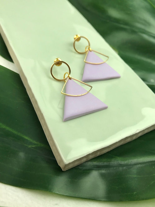 24k Gold Plated Handmade Lilac Clay Triangle Studs