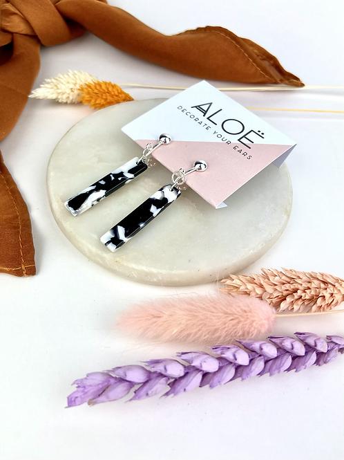 Mono Marble Baton Clip On Earrings
