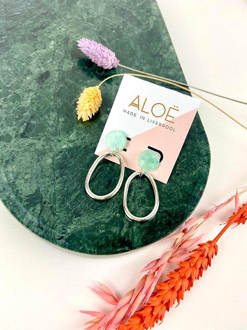 Turquoise & Silver Hoop Earrings