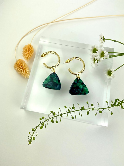 Chunky Gold Bottle Green Triangle Hoops