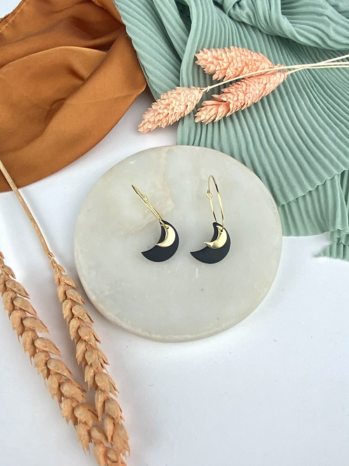 24k Gold Plated Black Clay Crescent Moon Hoops