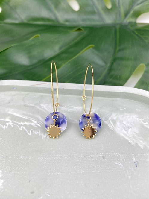24k Gold Plated Marble Blue Disc & Sun Hoops
