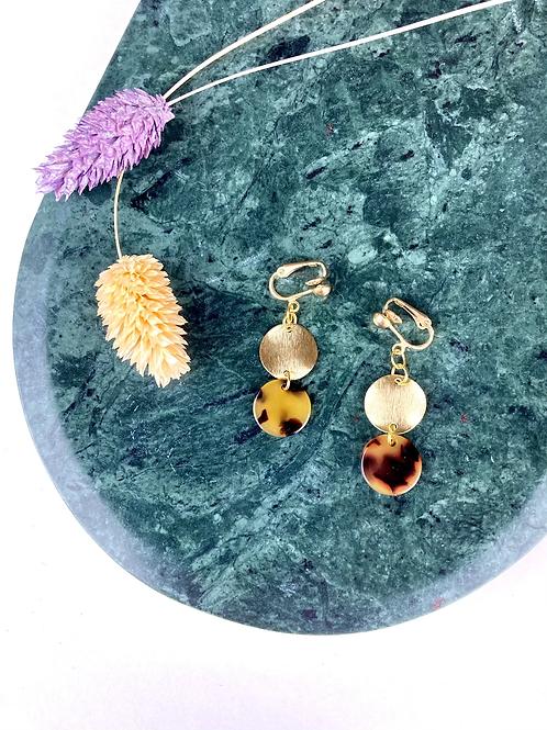 Clip on Gold Tortoiseshell Disc Earrings