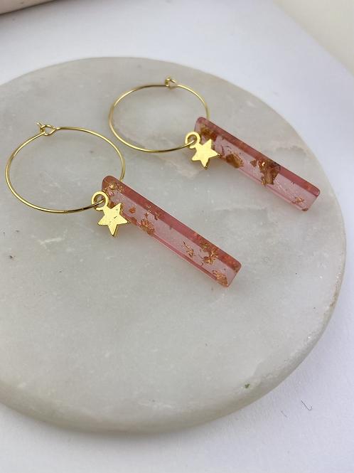 24k Gold Plated Translucent Pink Gold Fleck Baton Hoops