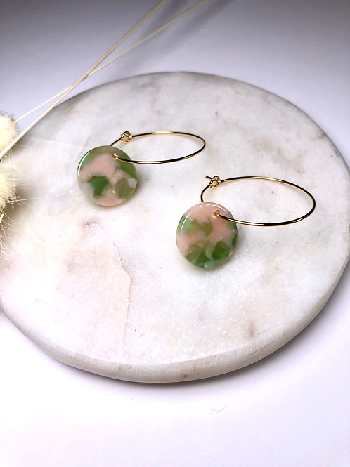 24k Gold Plated Pink & Green Disc Hoops