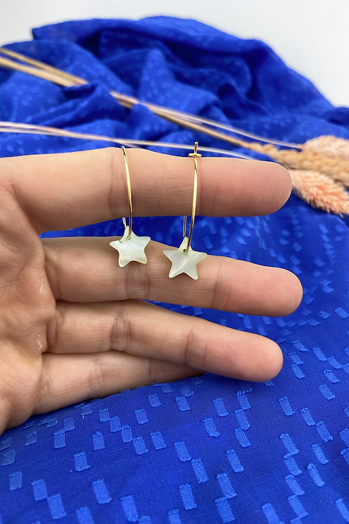 24k Gold Plated Mother of Pearl Star Hoops