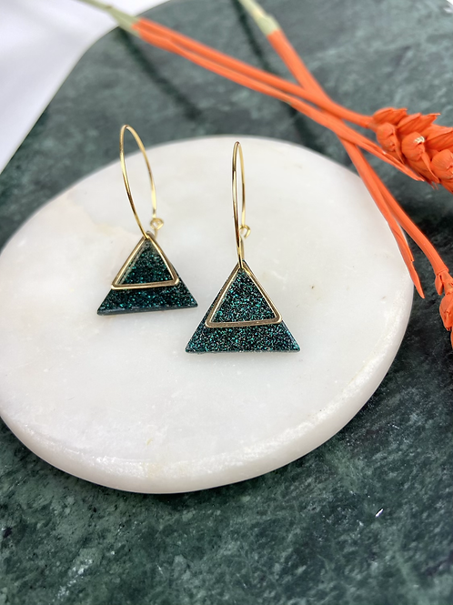 24k Gold Plated Emerald Green Glitter Triangle Hoops