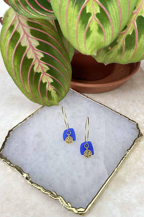 24k Gold Plated Blue Clay Coin Hoops