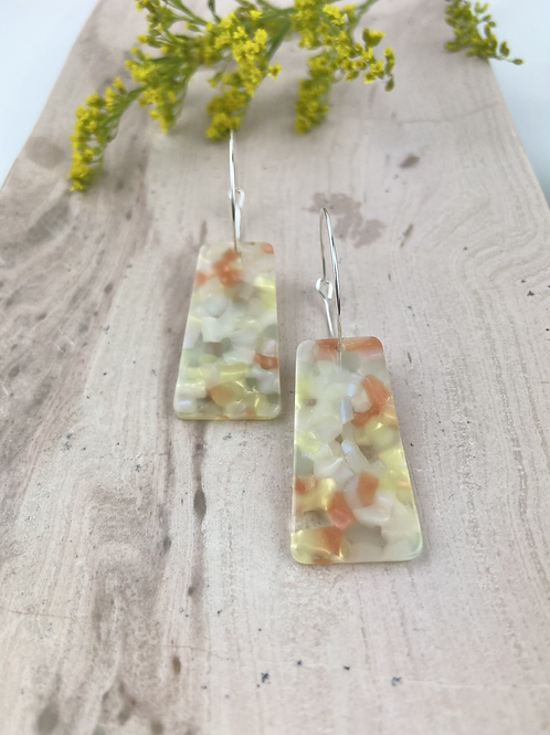 Silver Plated Marble Pastel Trapezoid Hoops