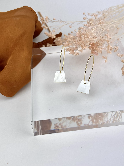24k Gold Plated Mother of Pearl Hoops