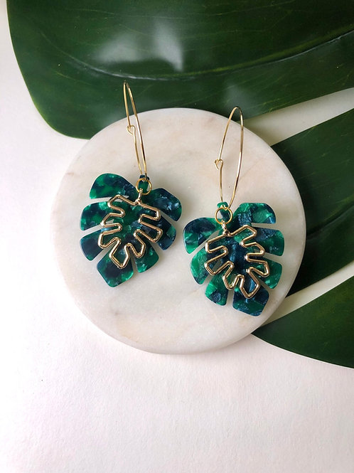 24k Gold Plated Large Bottle Green Monstera Hoops