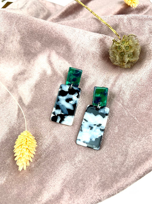 Chunky Green & Mono Retro Earrings