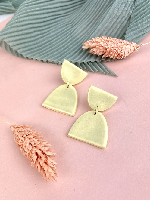 Retro Shimmer Lemon Dangle & Drop Earrings