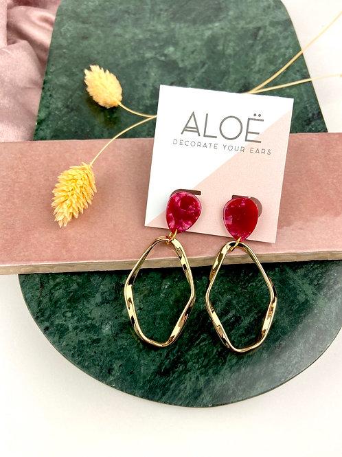 Red Teardrop Irregular Gold Hoop Earrings