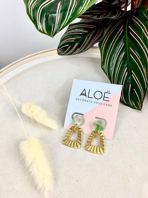 Pink & Green Gold Brass Dangle Earrings