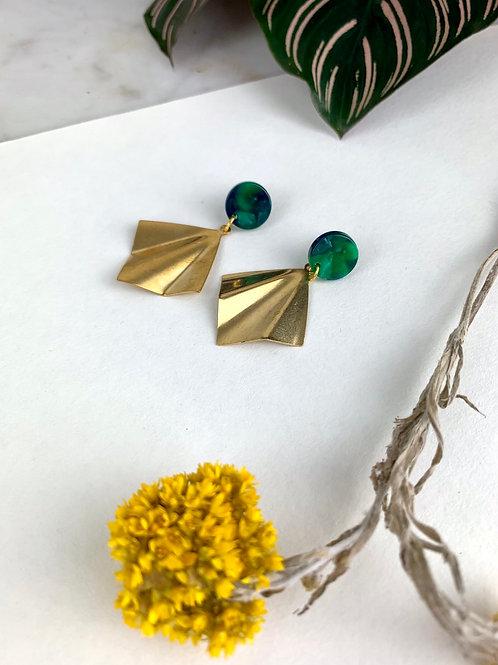 Bottle Green & Gold Fan Earrings