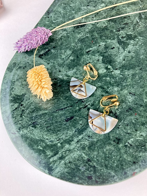 Clip on Half Moon Triangle Earrings