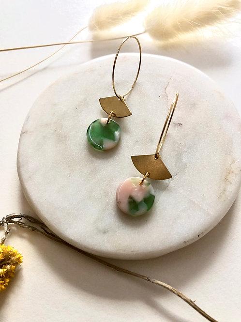 24k Gold Plated Pink & Green Marble Fan Hoop Earrings